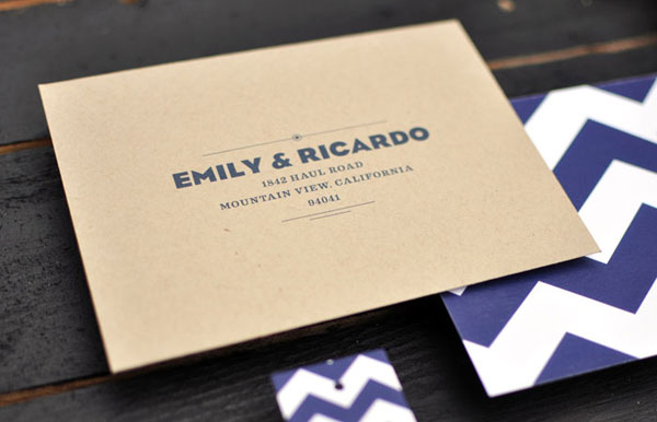 How To Label A Wedding Gift Envelope : Modern Navy Chevron Wedding Invites - Invitation Crush