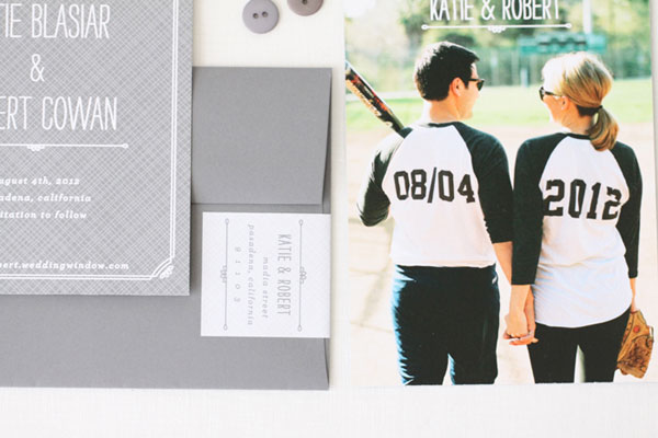 Softball Themed Save the Date Cards