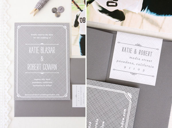 Softball Themed Save the Date Cards by Vellum & Vogue