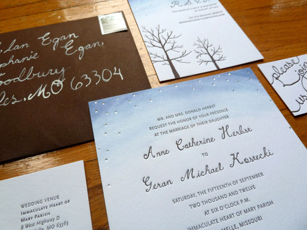 Starry Autumn Letterpress Wedding Invitations