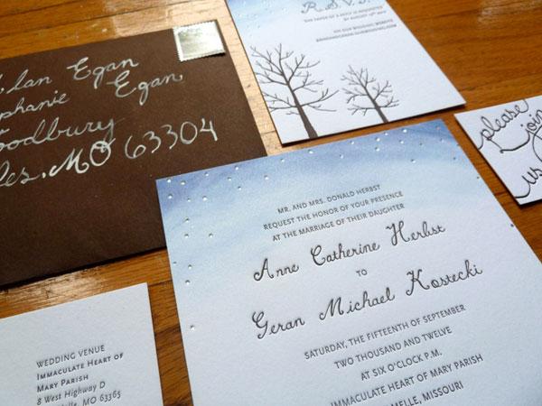 Starry Autumn Letterpress Wedding Invitations