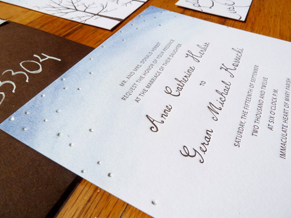 Starry Silver Hand Painted Wedding Invites