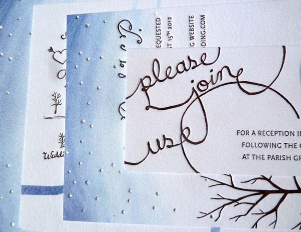 Autumn Watercolor Letterpress Wedding Invites (Detail)