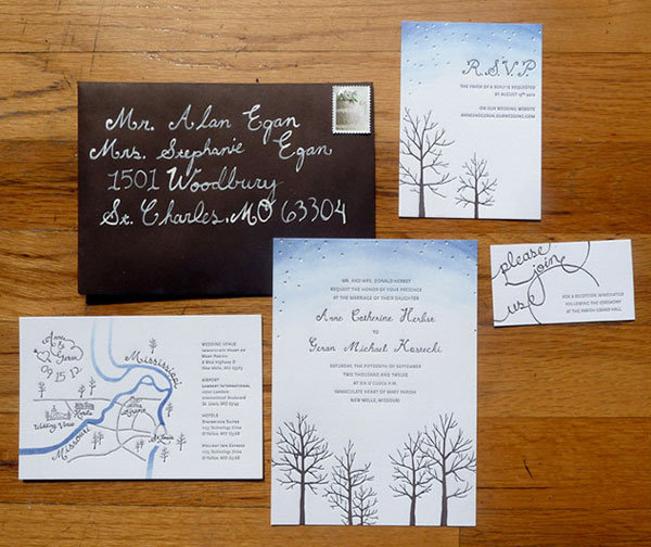 Starry Autumn Letterpress Wedding Invitation Suite
