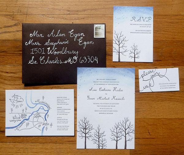 Starry Autumn Letterpress Wedding Invitation Suite