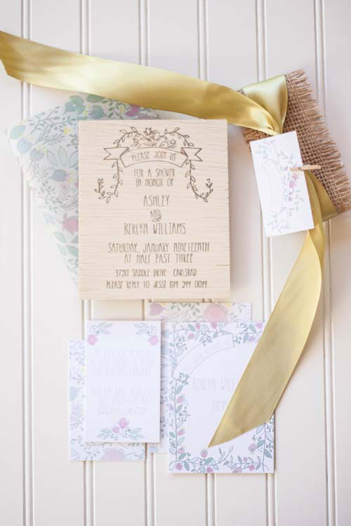 Sweet Hand Lettered Wood Baby Shower Invites | Moira Design Studio