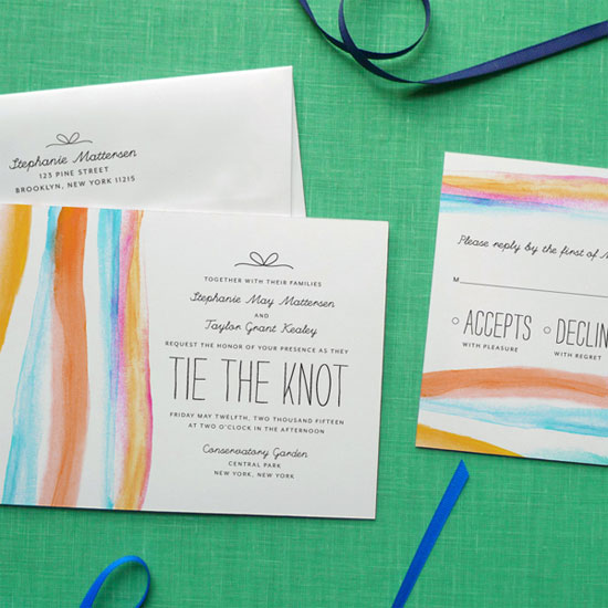 Brushstroke Watercolor Wedding Invitations