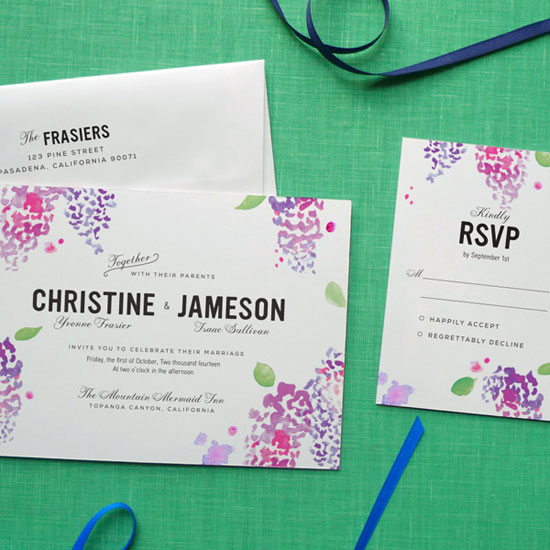 Lilac Watercolor Wedding Invitations