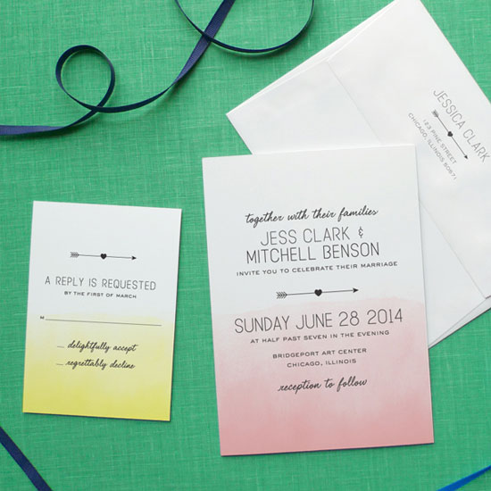 Ombre Watercolor Wedding Invites