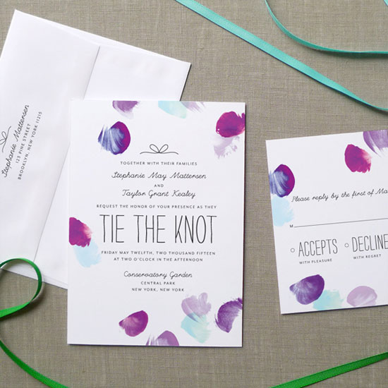 Watercolor Petals Wedding Invitations