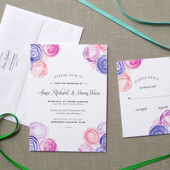 Watercolor Rose Bouquet Wedding Invitations