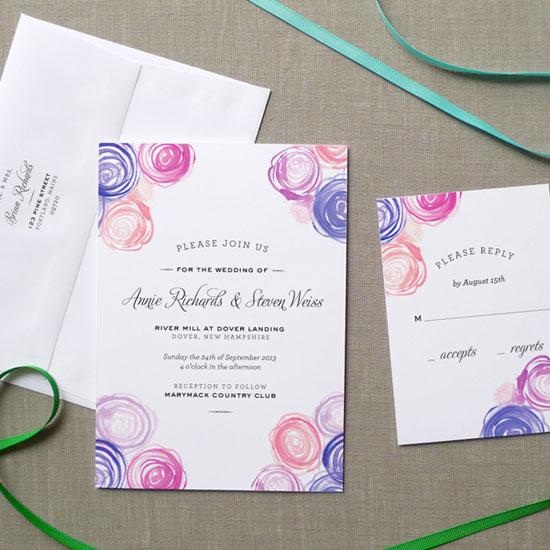Watercolor Rose Bouquet Wedding Invitations