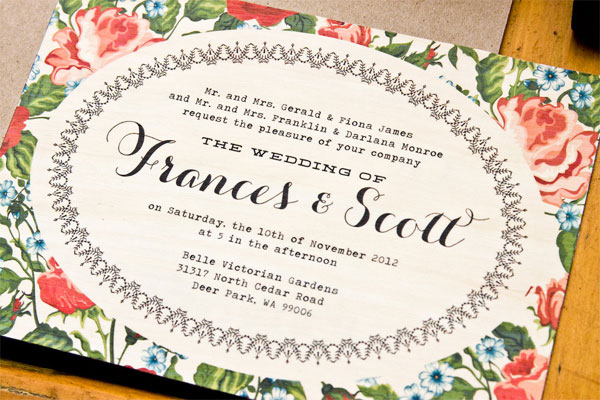 Folk Floral Birch Wood Wedding Invitations | The Paper Paramour