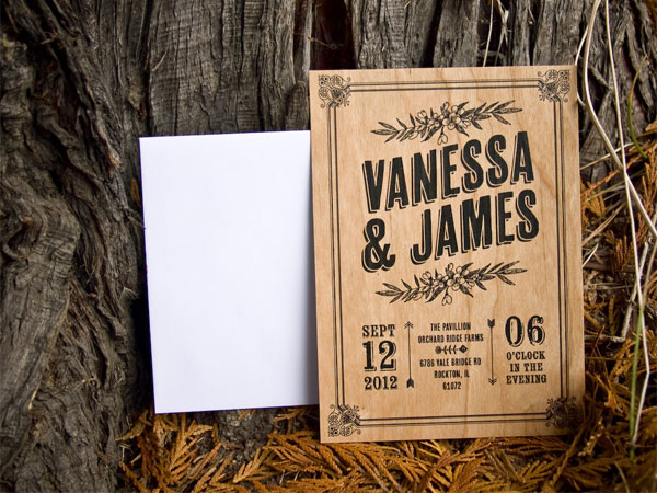 rustic wood wedding invites the paper paramour - Wood Wedding Invitations