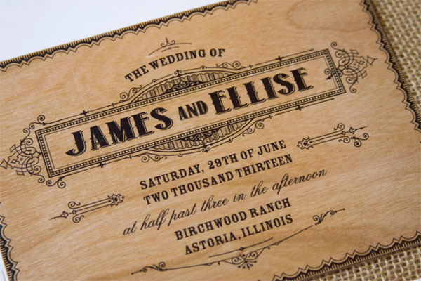 vintage poster style wood wedding invites the paper paramour - Wood Wedding Invitations