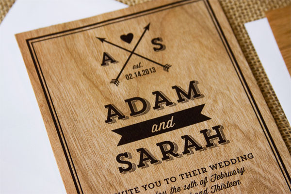 Modern Monogram Wood Wedding Invites | The Paper Paramour