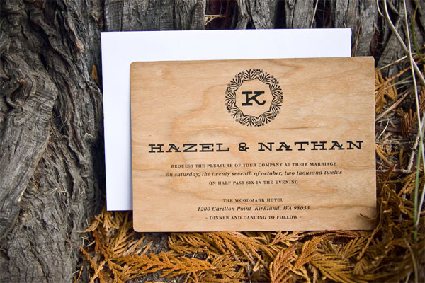 Initial Filigree Wood Wedding Invites | The Paper Paramour
