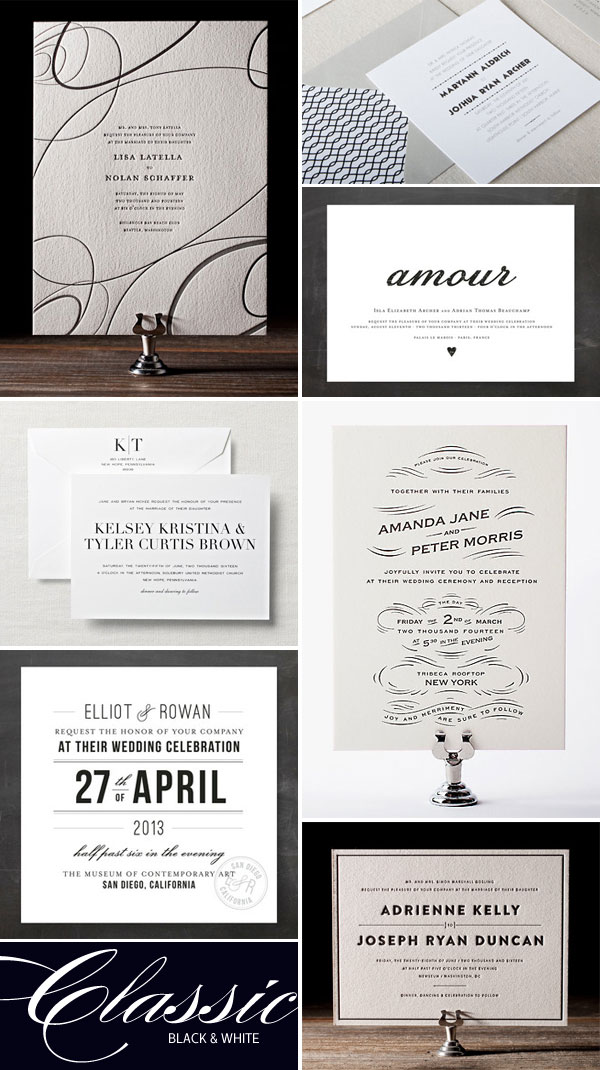 Classic Black & White Wedding Invitations