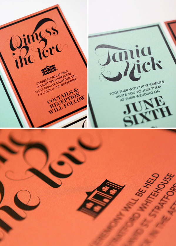 Nick + Tania's Coral and Mint Wedding Invitations | James Prunean