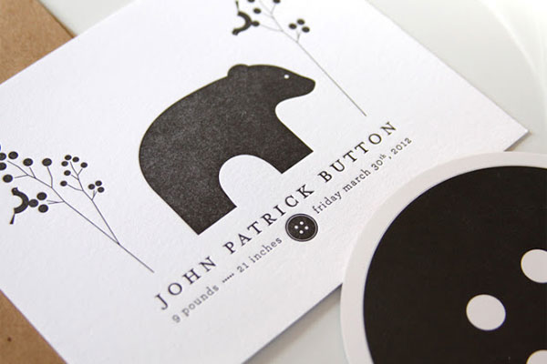 Modern Letterpress Baby Announcements | INK + WIT