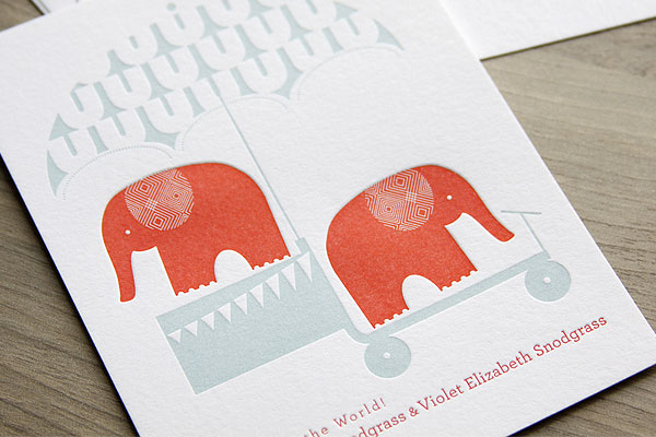 Elephant Letterpress Baby Announcements | INK + WIT