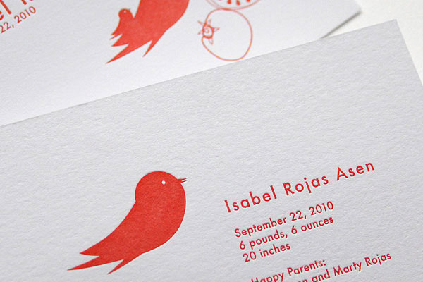 Modern Bird Letterpress Birth Announcements | INK + WIT