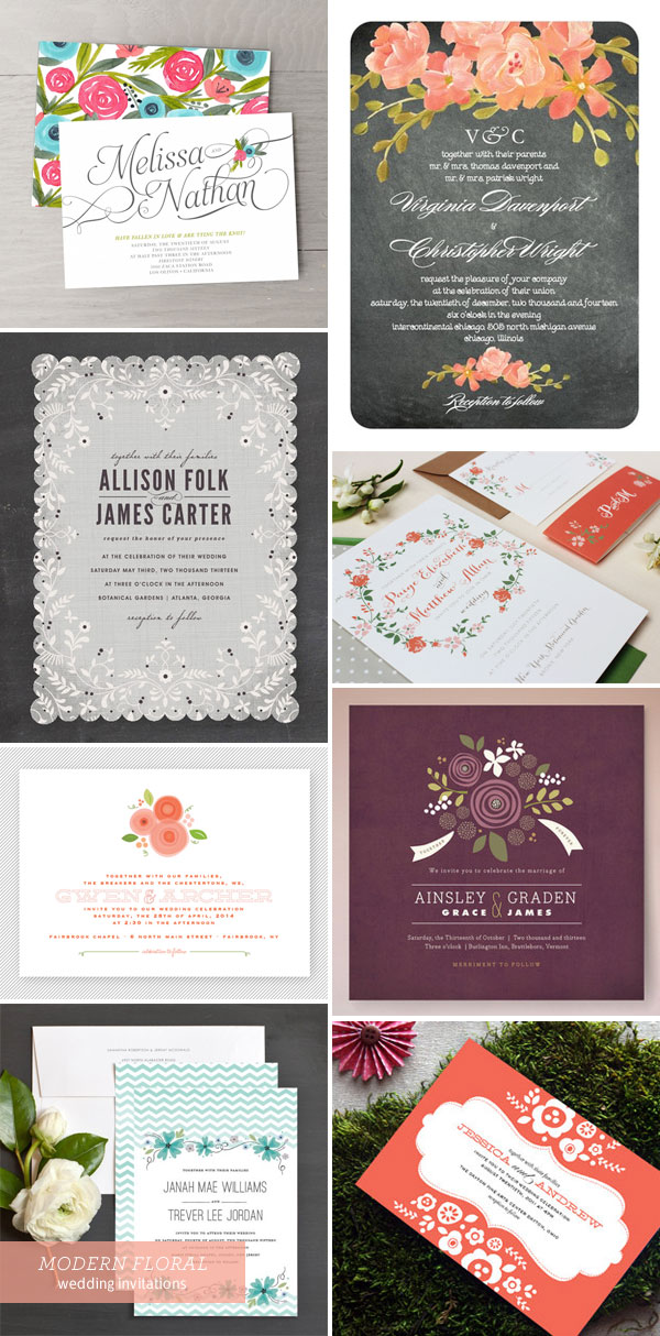 Modern Floral Wedding Invitation Inspiration
