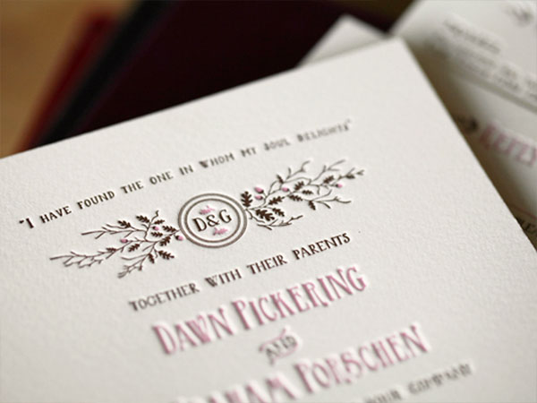 September Letterpress Wedding Invitations | Artcadia