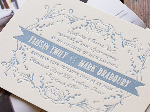 Peaches Letterpress Wedding Invitations | Artcadia