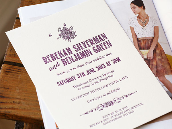 Bumble Letterpress Wedding Invitations | Artcadia