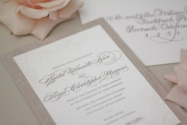 Linen & Lace Bunny Wedding Invitations | Vellum & Vogue