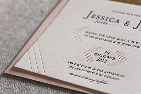 Modern Linear Letterpress Wedding Invitations | Steel Petal Press