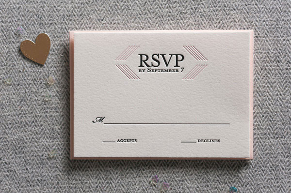 Modern Linear Letterpress RSVP Card | Steel Petal Press