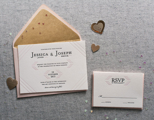 Modern Linear Letterpress Wedding Suite | Steel Petal Press