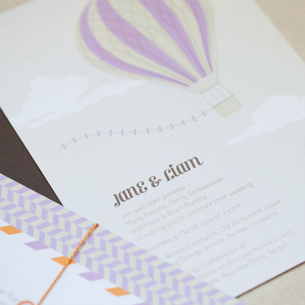 Up Up & Away Wedding Invitations | Akimbo
