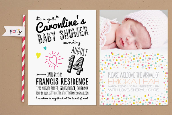 Modern Baby Shower Invites & Birth Announcements