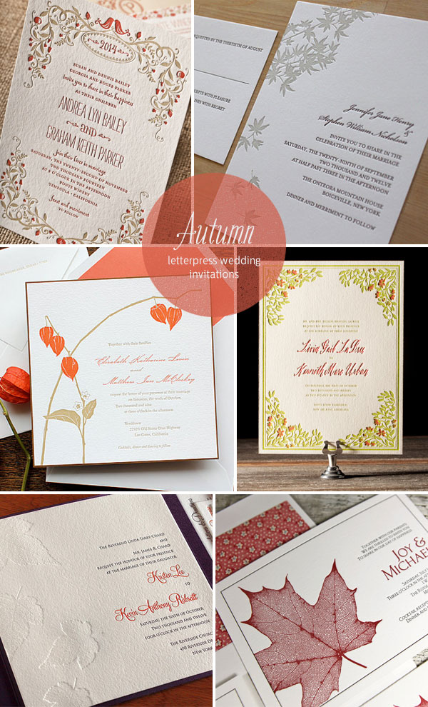 Autumn Letterpress Wedding Invitations as seen on invitationcrush.com