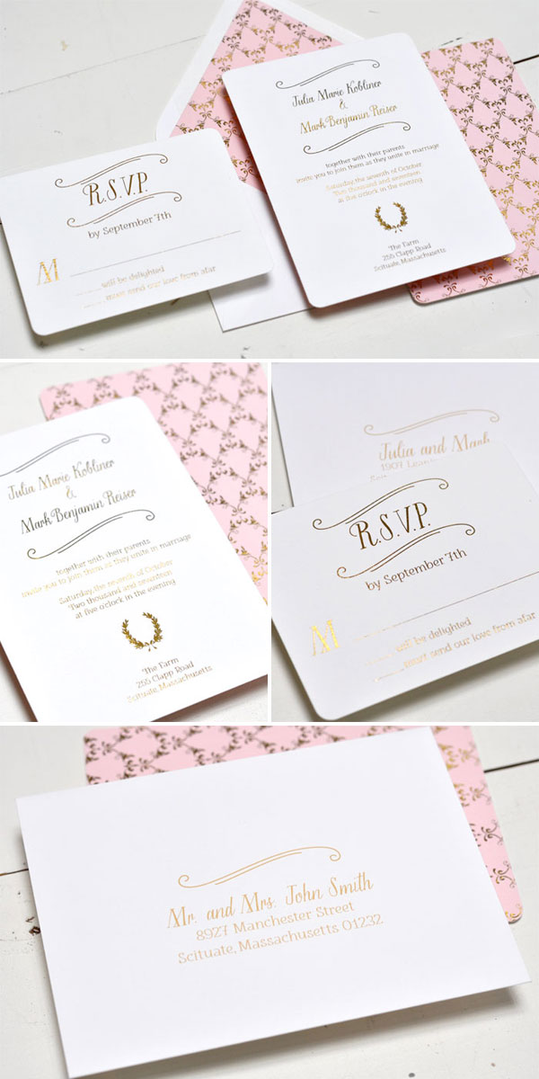 Mini Wreath Foil Duplex Wedding Invitations | Smitten on Paper
