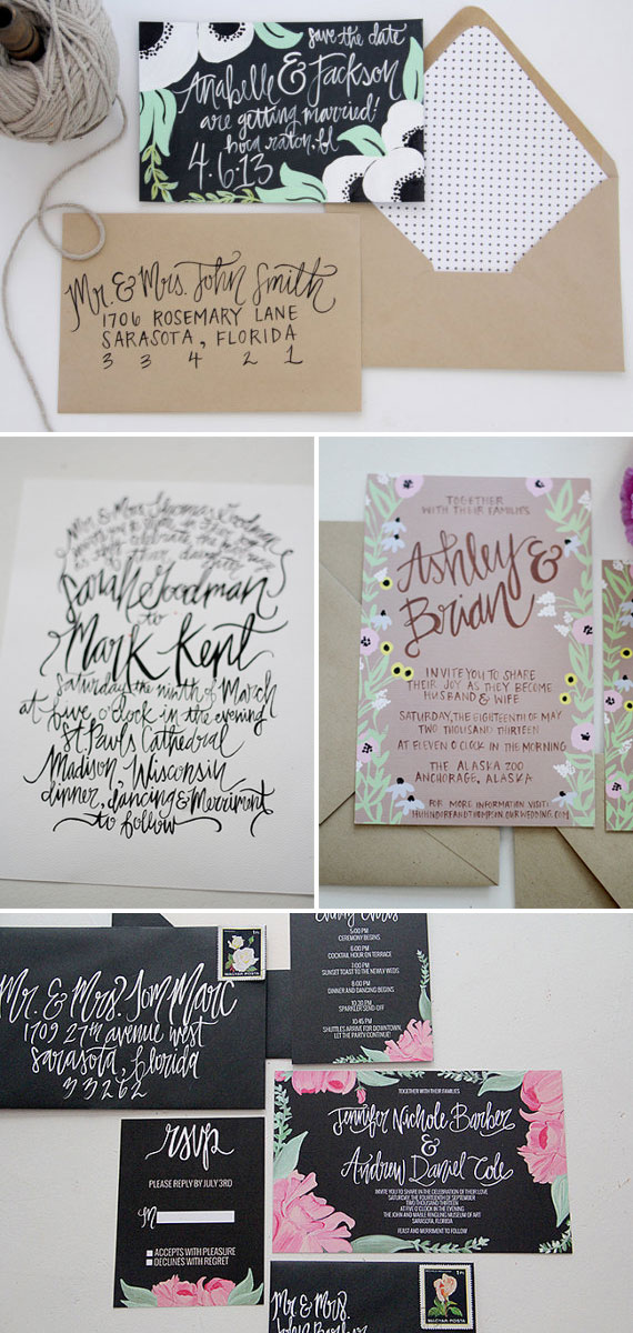 Hand Lettered Wedding Invitations + Save the Dates | Shannon Kirsten