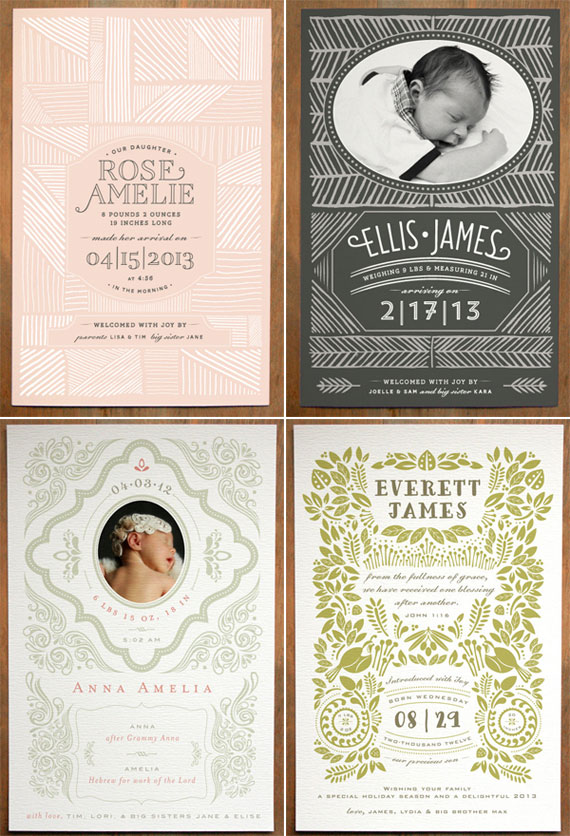 Modern Birth Announcements | The Gray Attic