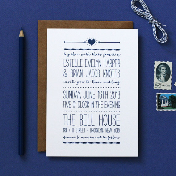 Playful Poster Wedding Invitations | Crafty Pie Press