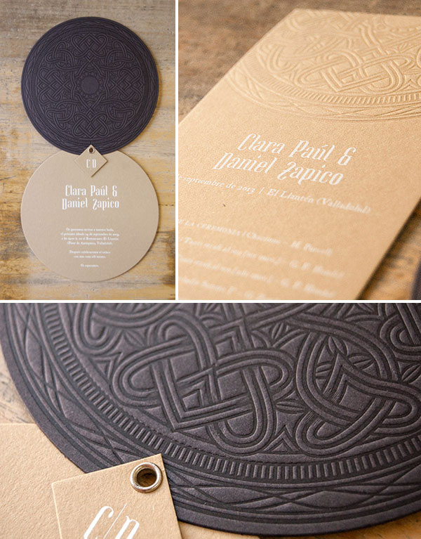 Ornate Rosette Letterpress Wedding Invitations | El Calotipo