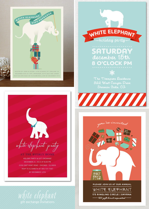 White Elephant Gift Exchange Invitations as seen on invitationcrush.com