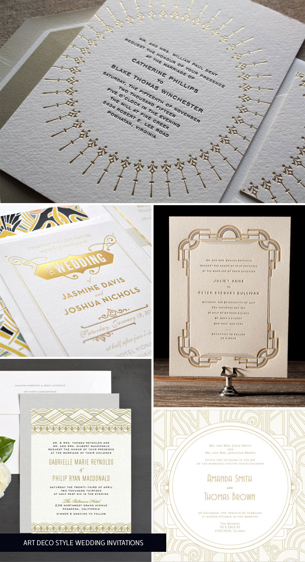 Gold Art Deco Wedding Invitations as seen on invitationcrush.com
