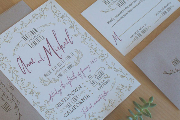 Whimsical Woodland Wedding Invitations | Jen Simpson Design