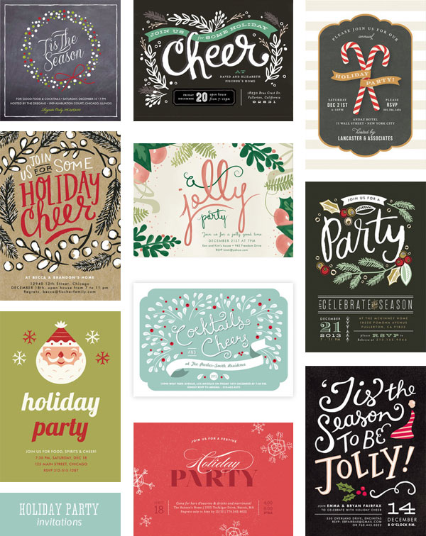 Minted Holiday Party Invitations as seen on invitationcrush.com