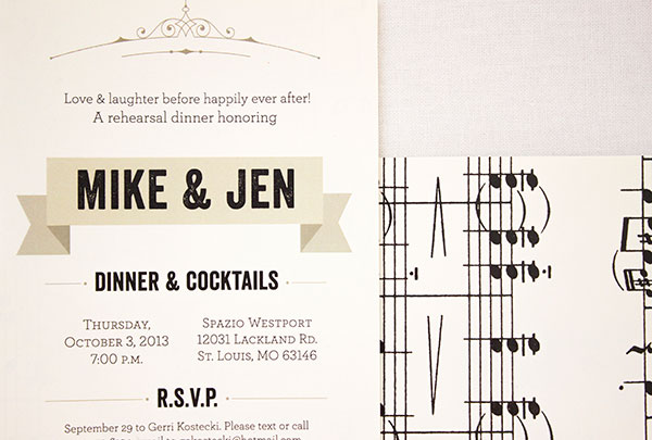 Music-Themed Rehearsal Dinner Invitations | Anne Kostecki