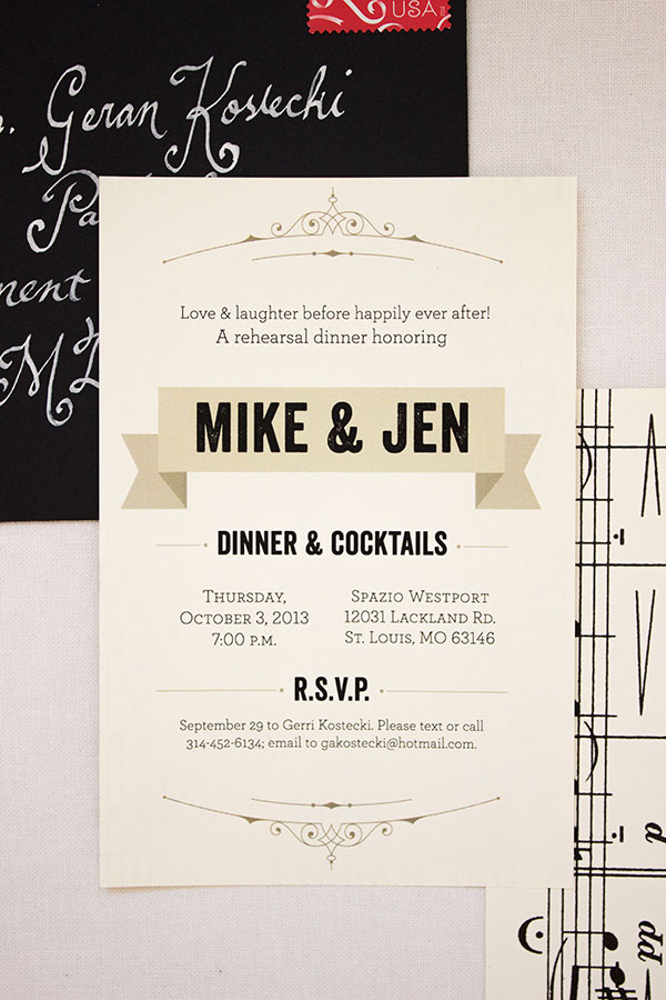 Modern, Music-Themed Rehearsal Party Invites | Anne Kostecki