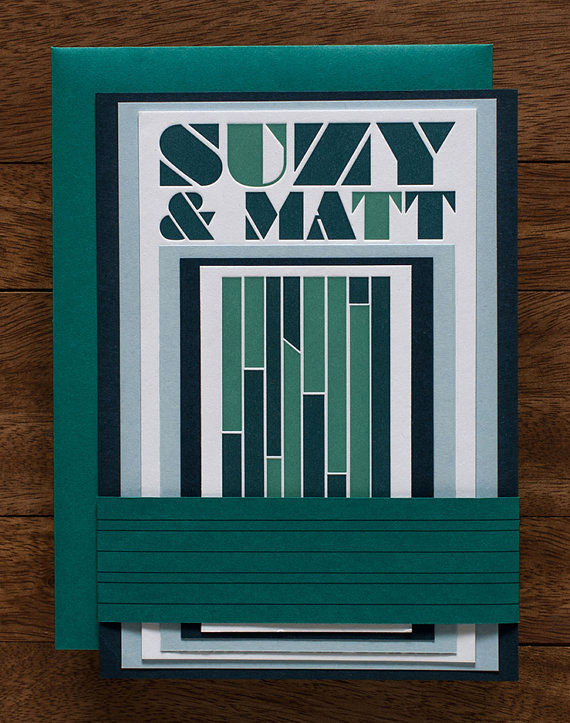 Bold, Typographic Letterpress Wedding Invitations (Foundry) | Tweedle Press