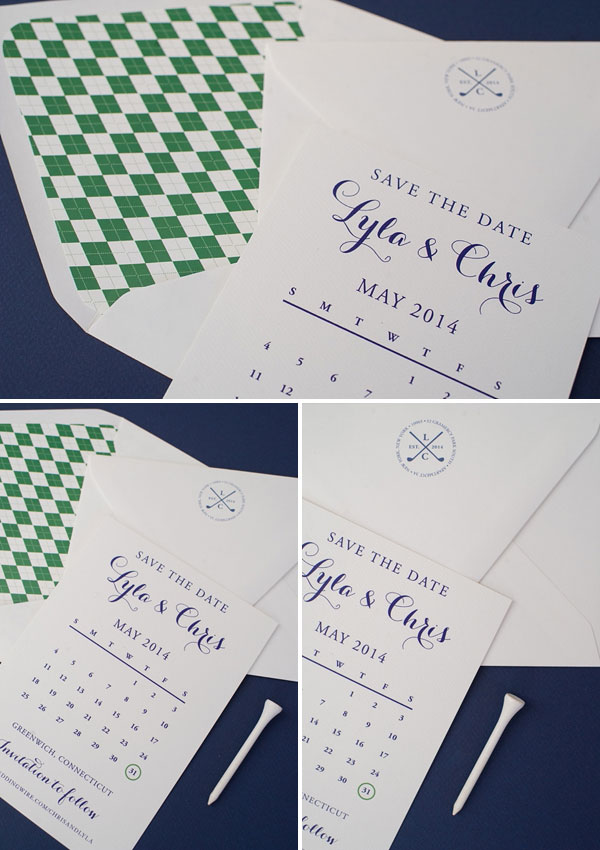 Preppy, Golf-Themed Save the Dates | Roseville Designs (photo credit : Brooke Allison Photo)